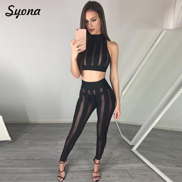 2 SET DI DUE PEZZI Abbinamenti Sexy per le donne Abbigliamento Crop Top Maglia trasparente Vedere attraverso il vestito a due pezzi Nightclub Plus Siz