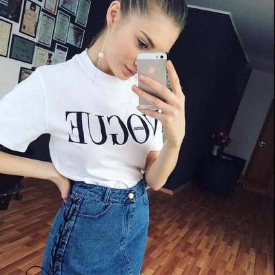 3ea8fd39 2017 Brand Summer Tops Fashion Clothes for Women VOGUE Letter Printed  Harajuku T Shirt Red Black