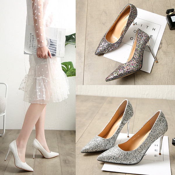 European and American women's shoes with high heel and shallow mouth sparkle sequins, sexy thin nightclubs, high heels, single shoes