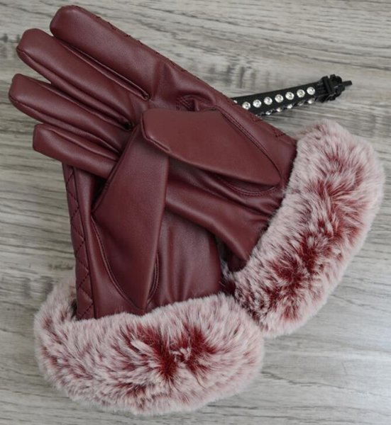 Autumn and Winter ladies touch screen gloves windproof leather warm plus velvet PU leather gloves Five Fingers Gloves 008