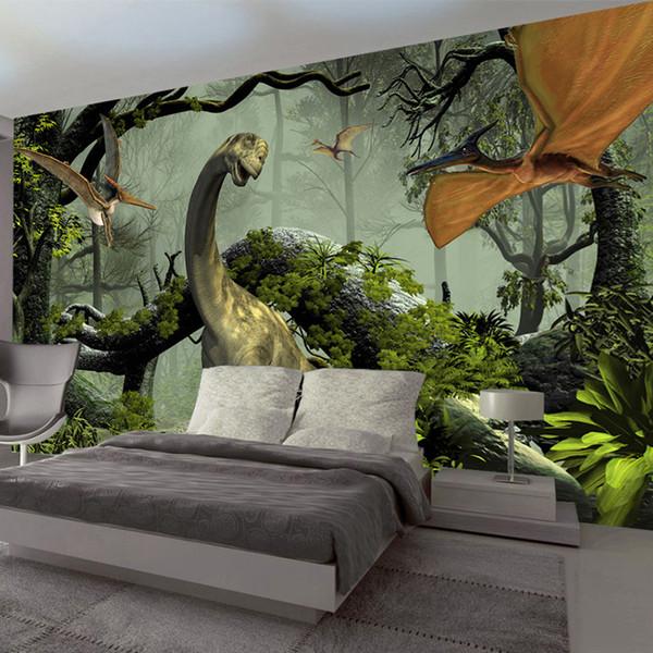 Photo faite sur commande Fond d'écran 3D Stereo Thème Dinosaur grandes peintures murales Primitive Forêt Salon Chambre Backdrop Décor mural WallPaper