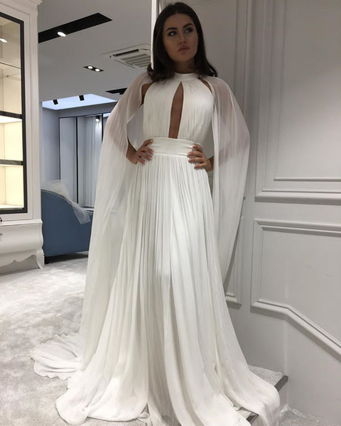 Sexy Keyhole Neck Plus Size Cheap Evening Dresses 2019 A Line White Long Chiffon Cheap Simple Formal Celebrity Evening Party Gowns