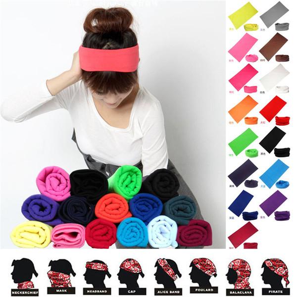 Écharpe de couleur unie magique d'équitation en polyester foulard absorbant de sueur Bandanas foulard mouchoir hip-hop mk489