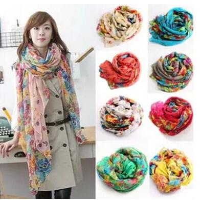 Fashion Spring and Autumn Long Scarf Womens Floral Oversized Scarves Shawl Voile Scarf Suncreen Beach Towels