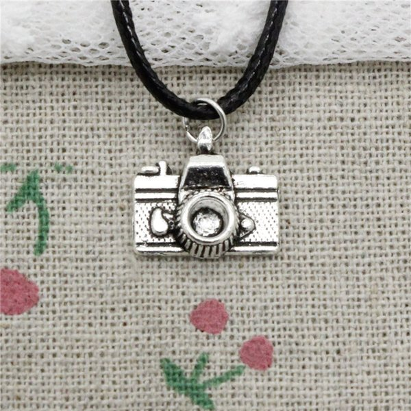 New Durable Black Faux Leather camera 15*14mm pendant Cord Choker Charm DIY Necklace Pendant Retro Boho Tibetan Silver