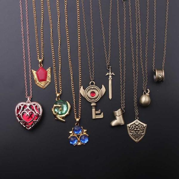 8 стиль Легенда о Зельде кулон ожерелье сглаз ключ красное сердце кулон дружба подарок игра ювелирные аксессуары дропшиппинг