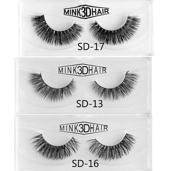 1 Pair Handmade Mink Hair False Eyelashes Natural Black Long Soft Cilia Wispy Lashes Women Beauty Makeup Extension Tools