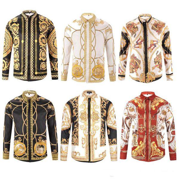 best selling Men brand shirts runway look print long sleeve plus size 3d dress shirt designer luxury shirts men's clothing
