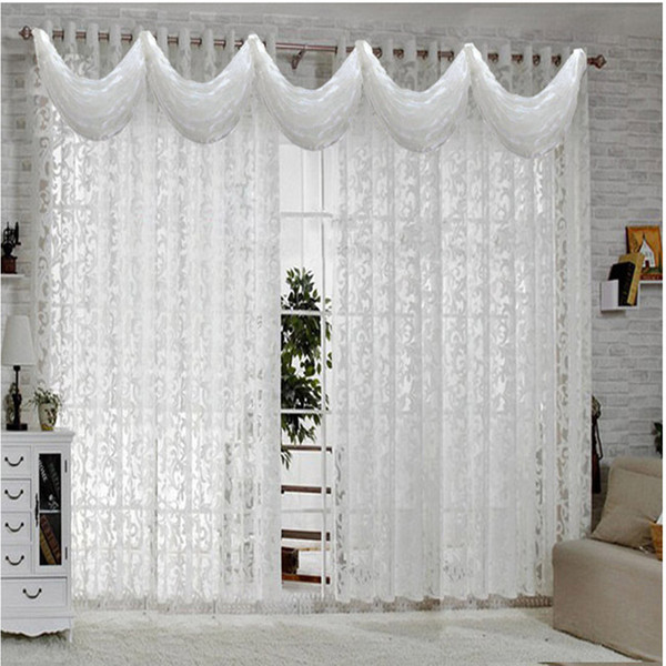 White curtains for living room Bedroom European Curtain sheer Modern Kitchen curtain Luxury tulle Drapes Panels Bead Valance