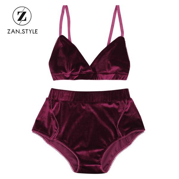 ZAN.STYLE Solid Velvet Women Bra Set 2pcs V neck Sleeveless halter bandage Cropped top Elastic High Waist briefs shorts Wine Red