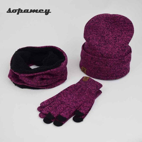 3 Pieces/set Men Women Winter Hats Scarves Gloves Cotton Knitted Hat Scarf Set For Male Female Winter Accessories Touch Screen