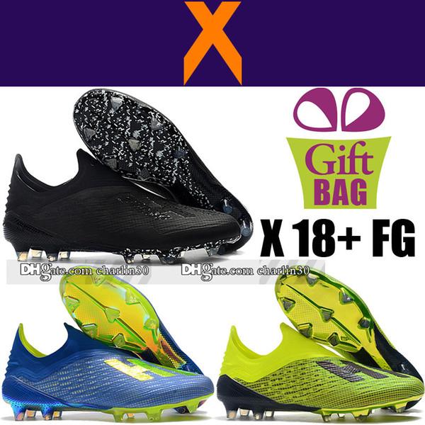 Yüksek Kalite Yeni X 18 + FG Futbol Ayakkabıları Orijinal Deri Futbol Boots X 18 Futbol Boots Yeşil Sarı Siyah Açık Futbol Cleats Laceless