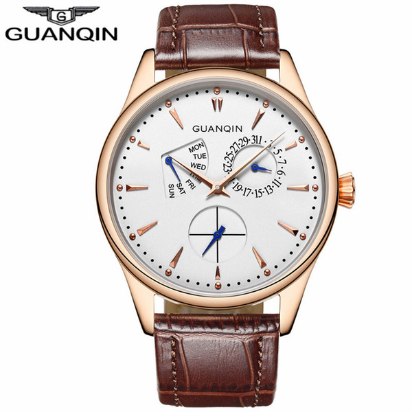 2017 GUANQIN Relojes Para Hombre de Moda Top Brand Luxury Dress Día Fecha de Cuero Reloj de Cuarzo de Los Hombres Impermeables Reloj Masculino Reloj Hombre