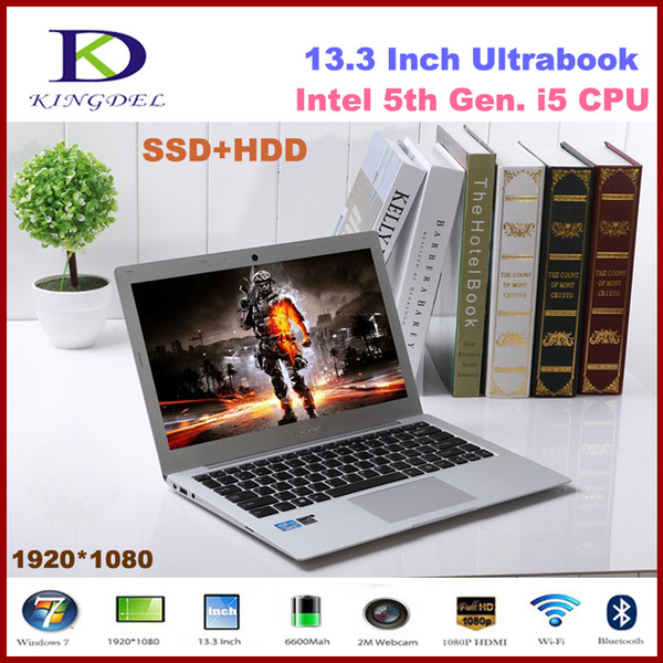 Hot Selling 13.3''netbook Intel Core i5 5200U Dual Core ultra slim laptop HDMI WIFI Bluetooth 8GB RAM+256GB SSD+1T HDD2.2GHz 3M