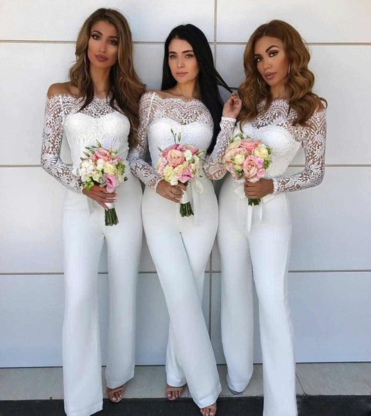 Elegant White Long Bridesmaid Dresses With Lace Long Sleeves Floor Length Mermaid Wedding Events Party Dresses Paints Custom Made Online