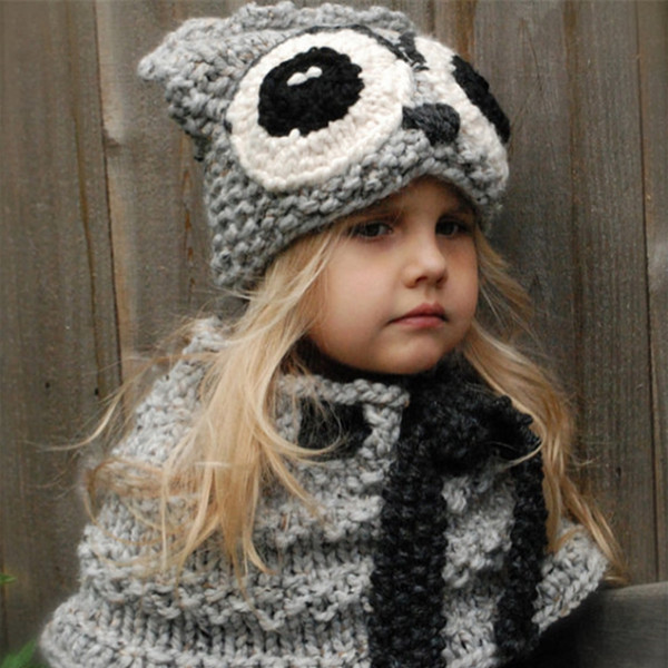 Kids Winter Knitted Hats Scarf kids OWL Crochet caps children warm hadmade beanie girls cartoon animal shawl poncho capes for 3-8T