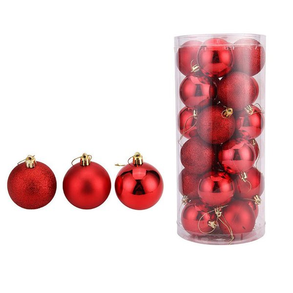 6cm 24Pcs/pack Hot Christmas Tree Ornaments Multi-color Christmas Ball Plastic Gift Ball for Xmas Holiday Decoration