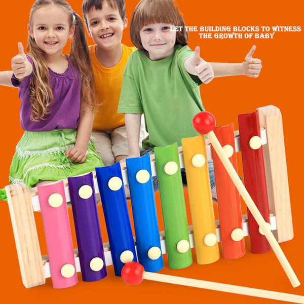 wood hand knocks the 8-Note xylophone serinette Eight piano digital alphabet blocks kids baby Musical toy piano Instrument gift DHL 36pcs