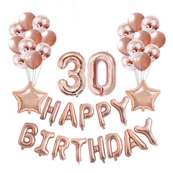 37pcs/lot 16 21 30 40 50 60th Happy Birthday Rose Gold Star Confetti 32inch Number Foil Balloon Birthday Party Decor Supplies