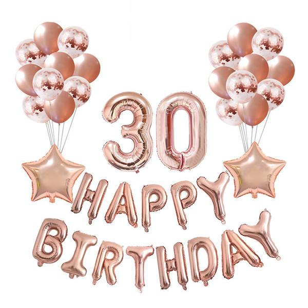 37pcs / lot 16 21 30 40 50 60e joyeux anniversaire Rose Gold Star Confetti 32 pouces Nombre Foil Balloon Birthday Party Decor Fournitures