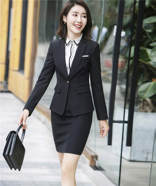 Office Uniform Designs Women Skirt Suit 2017 Ladies Professional Professional Business Womens Suit Blazer con Gonne Jacket Set