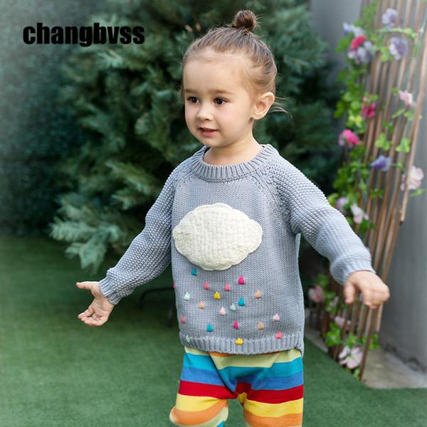 Colorido Gotas de lluvia Diseño Niñas Suéter de punto Otoño Invierno Niñas Suéter niños prendas de punto Suéteres calientes para niños Dibujos animados