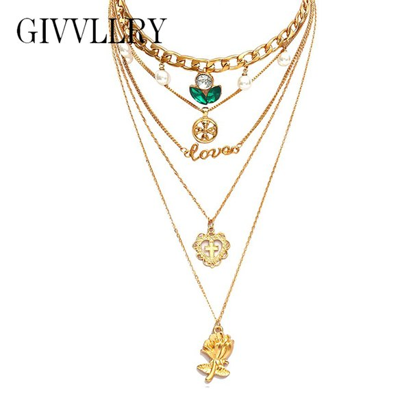 GIVVLLRY Chunky Curb Chain Choker Necklace for Women Vintage Gold Color Hollow Carved Cross Heart Flower Love Pendant Necklace