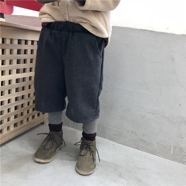 Invierno nueva llegada bebé niños niñas Fake dos piezas de lana pantalones de pierna ancha 1-6 años niños cálidos pantalones de moda de lana