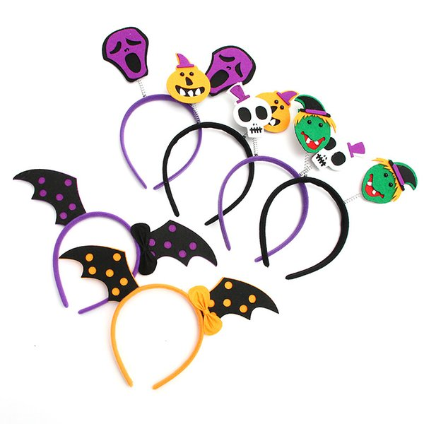 6styles Halloween headband Bats Pumpkin Hair Bands Hoop Children Funny Party Props Headbands Headdress Kids Hair Accessories GGA807 1000pcs