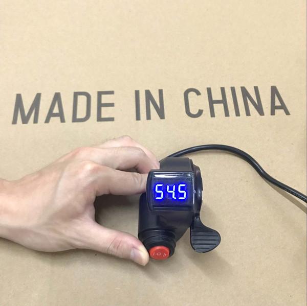Universal 12V/24V/36V/48V/60V/72V EBike Thumb Throttle with 3 speed switch LCD Digital Battery Voltage Display for electric bike e Scooter