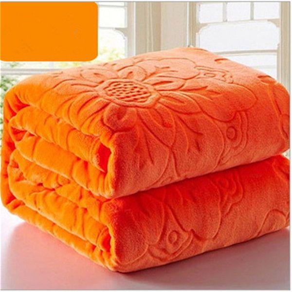 Luxury Quality Flannel Blanket Coral Fleece Bedspread Solid Orange Color Adult Multi-Size Bed Sheets Plaid Solid Color Blankets