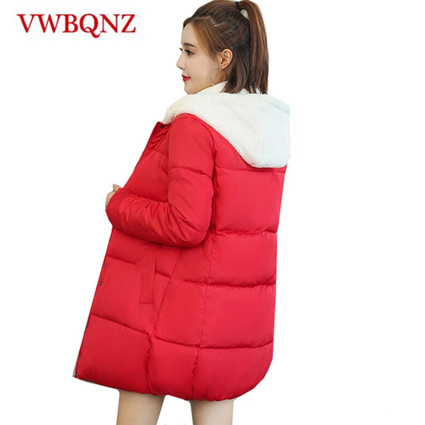 New Winter Women Lambswool Cute Cotton Jacket Coat Warm Loose Long ladies Hooded Overcoat Casual Student Jacket Fashion Clothing