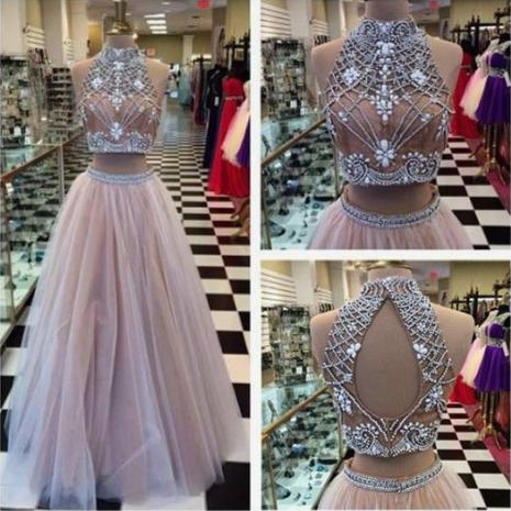 Fashion Elegant Evening Formal Dresses 2019 Prom Dresses Tulle Evening Dresses Crystal Beaded Two Pieces Dress robes de soirée