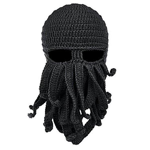 Mascara de invierno doble más gruesa y doble más gruesa tejida a mano snowboard pulpo lana sombrero gorro cálido