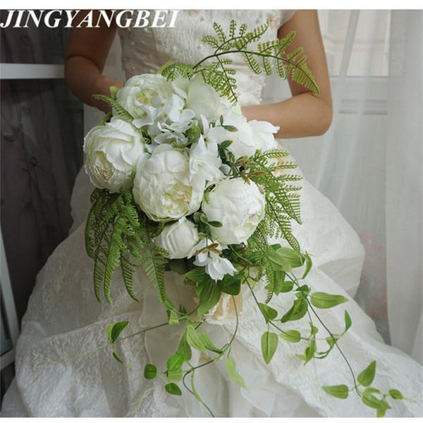 2019 New Waterfall Style Handmade Wedding Bridal Bouquet Peony