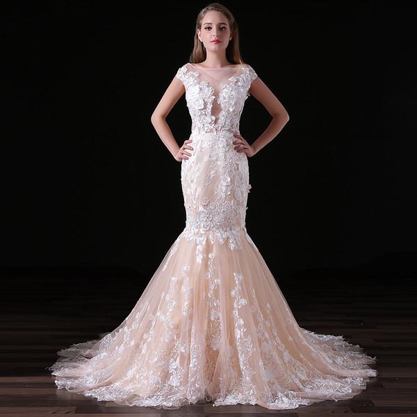 MAGGIEISAMAZING Toptan mücevher dantel elbise geri fermuar maruz süpürme Mermaid Gelinlik ile sweep tren CYH0000A020