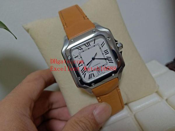 Heißer Verkauf Mode 40mm Galbee XL WSSA0009 WGSA0009 Edelstahl Weißes Zifferblatt Automatische Mechanische Lederbänder Strap Herrenuhr Watche