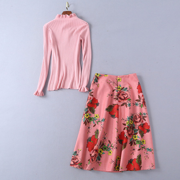 c167a04f140be 2018 Autumn Fall Knitted Long Sleeve Crew Neck Ribbon Tie-Bow Top &  Mid-Calf Floral Print Skirt Set Two Piece Twopiece 2 Pieces Set N6R3270