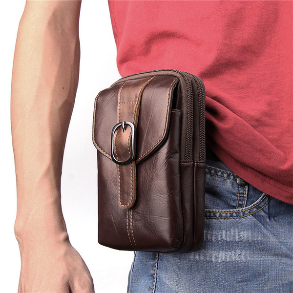 2018 New Waist Belt Bag for Men Genuine Leather Mobile Phone Bags Casual Waist Fanny Packs Pouch Pocket for Sony/Samsung/LG/Nokia