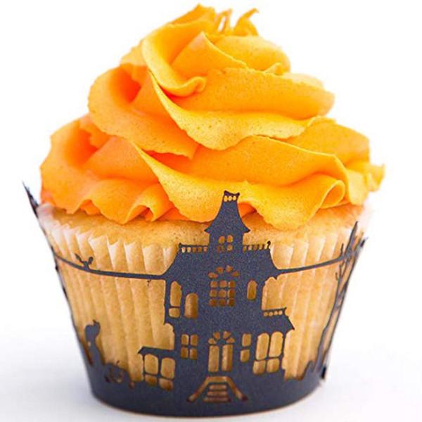 Oco de Halloween Copo De Papel Preto Teia De Aranha Bolo Cup Cake Makers Descartáveis Copos De Cozimento para o Dia Das Bruxas Cupcake