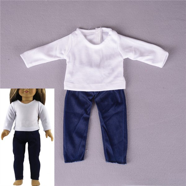1Set Girls clothing set Doll accessories Casual T-shirt Pants Outfit Fit For 18 inch Our Generation American Girl Doll