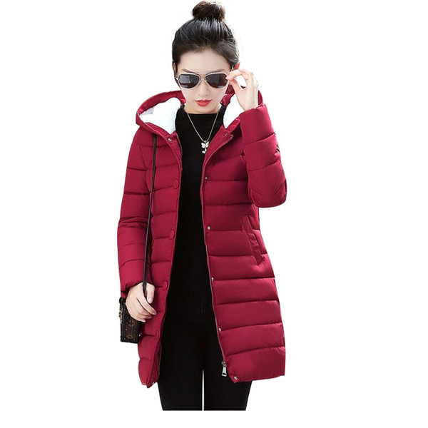 Winter Coat Women 2018 Fashion Down Cotton Padded Jacket Winter hooded Slim Women Parkas Plus Size Thicken Female Long Outerwear S18101203