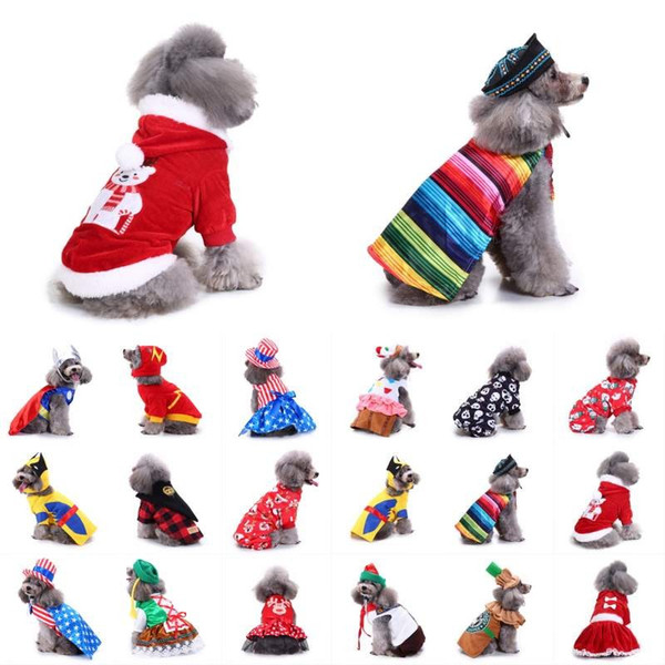 Pet Dog Clothes For Small Dogs Winter Christmas Halloween Clothes Warm Cat Coat Jacket Pumpkin Wizard Transform Funny Costume