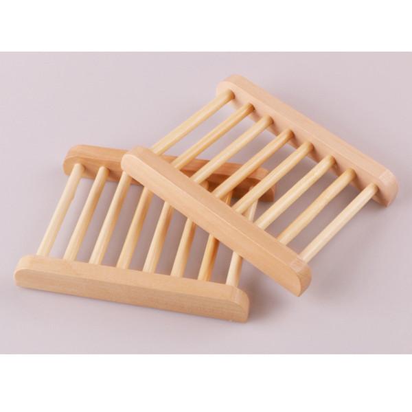 Großhandel 100 STÜCKE Natürlichen Bambus Holz Seifenschale Holz Seifenschale Halter Lagerung Seife Rack Platte Box Container