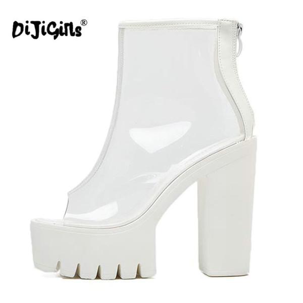 talla 40 59ec8 54fe6 Compre DIJIGIRLS Súper Tacones Altos Suelas Gruesas Perspex Transparente  Botines Transparentes Plataforma Femenina Antideslizante Botas Zapatos ...