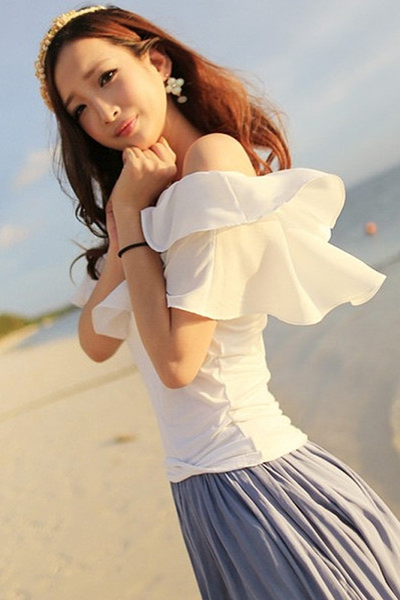 New design women's sexy off shoulder slash neck short sleeve double layer ruffles chiffon blouse shirt tops plus size SML