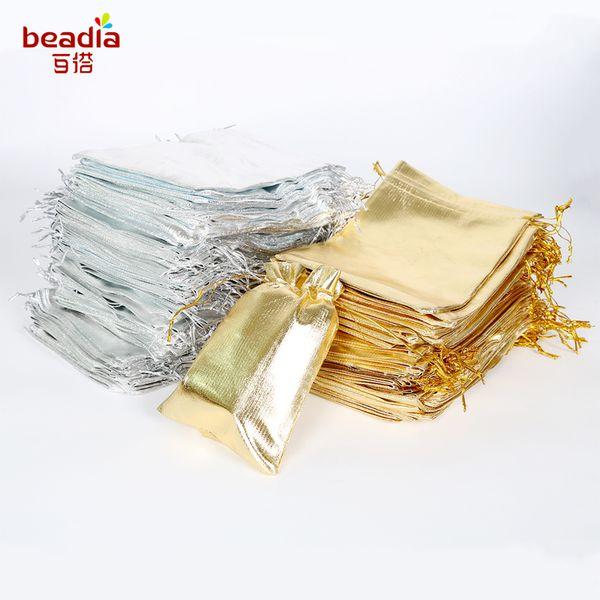 100 stücke Silber Gold Farbe Metallic Folie Organza Kordelzug Weihnachten Hochzeit Party Favor Geschenke Süßigkeiten Taschen 7x9 9x12 10x15 13x18 cm