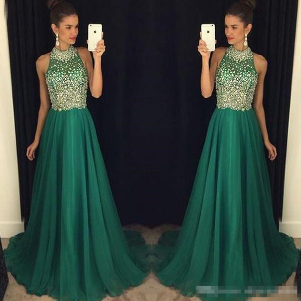 High Neck 2018 Crystal Prom Dresses Dark Green Chiffon Beading Sequins A Line Chiffon Floor Length Formal Evening Special Occasion Gowns