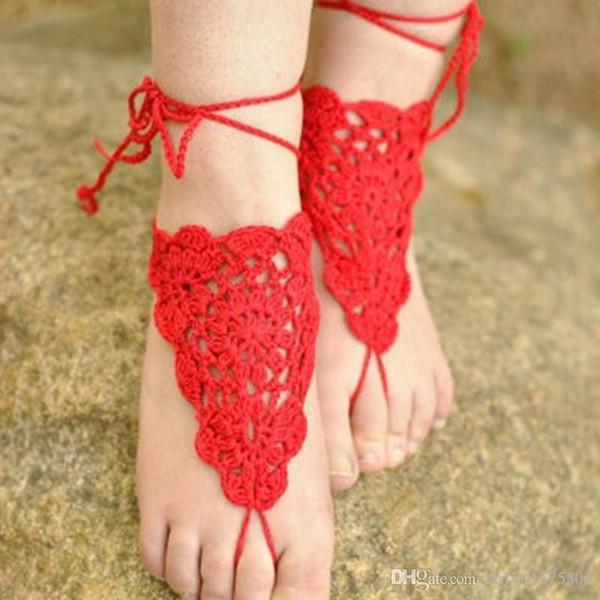 Barfuß Sandalen, häkeln, CORAL rot, Strand Hochzeit, Nude Schuhe, Fuß Schmuck, Sandalen, Gypsy Fußkettchen, Cotton Lace Hippie, Massanfertigung ..