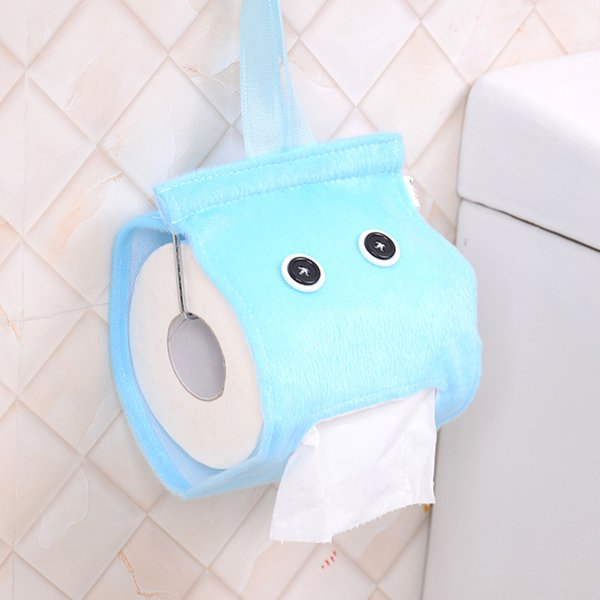6 Colors Cute Elfin Roll Paper Plush Cloth Tissue Case Room Decoration Toilet Kitchen Hanging Tissue Canister Box Holder